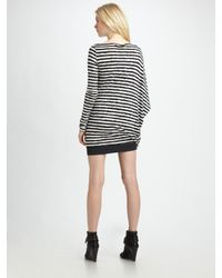 McQ - White Asymmetrical Stripe Jersey Dress - Lyst