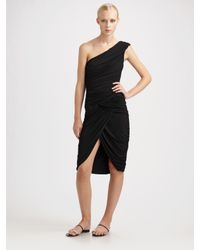 Michael Kors | Black Matte Jersey Draped Goddess Dress | Lyst