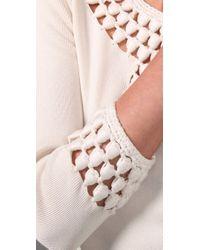 MILLY - White Crochet Sweater Dress - Lyst