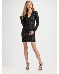 Nicole Miller | Black Long Sleeve Lace V-neck Dress | Lyst