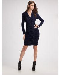 Nicole Miller | Blue V-neck Tucked Ponte Dress | Lyst