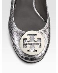 Tory Burch   Metallic Reva Snake-embossed Leather Ballet Flats   Lyst