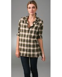 Vince | Green Plaid Trapeze Top | Lyst