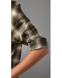 Vince - Green Plaid Trapeze Top - Lyst