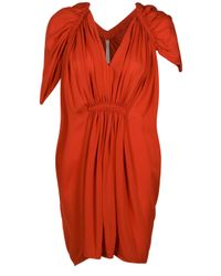 Willow | Orange Accordian Tuck Dress | Lyst