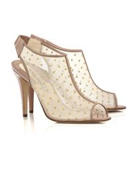 Brian Atwood | Natural Gaga Studded Mesh Ankle Boots | Lyst