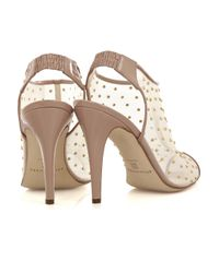 Brian Atwood - Natural Gaga Studded Mesh Ankle Boots - Lyst