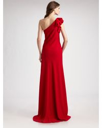 Carmen Marc Valvo - Red One Shoulder Crepe Gown - Lyst