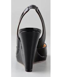 Kors by Michael Kors - Vivian - Black Patent Wedge Slingback - Lyst
