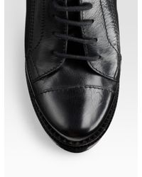 Burberry - Black Lace-up Leather Ankle Boots - Lyst
