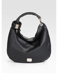 Jimmy Choo | Black Leather Sky Studded Bangle Hobo | Lyst