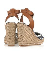 Tory Burch - White Swan-print Wedge Sandals - Lyst