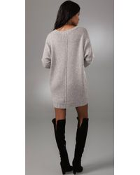 BCBGMAXAZRIA - Gray Oversized Sweater Dress - Lyst
