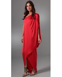 Halston | Red Wrap Long Dress | Lyst