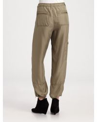 DKNY | Green Silk Cargo Pants | Lyst