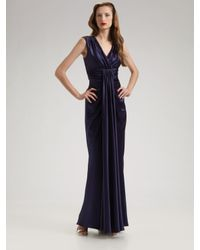Marc Bouwer Glamit! | Blue Draped Silk Charmeuse Gown | Lyst