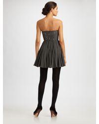 Rebecca Taylor - Gray Strapless Silk Bustier Dress - Lyst