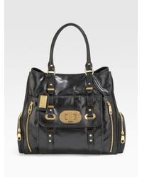 Badgley Mischka - Black Janet Leather Tote - Lyst