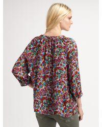 Joie - Multicolor Floral-print Silk Blouse - Lyst