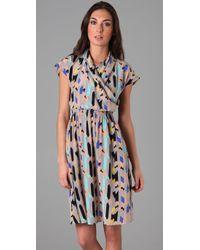 Tucker   Brown Cross Front Flowy Dress   Lyst