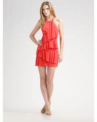 BCBGMAXAZRIA - Tiered Silk Halter Dress - Lyst
