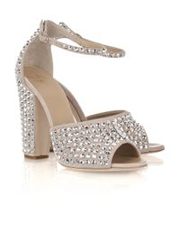 Giuseppe Zanotti | Metallic Crystal-embellished Suede Sandals | Lyst