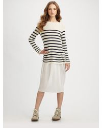 Junya Watanabe | White Stripe Sweater & Chiffon Skirt Dress | Lyst