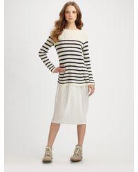 Junya Watanabe | White Stripe Sweater & Chiffon Skirt Dress | Lyst