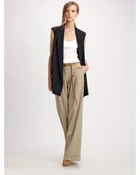 Michael Kors | Blue Wool Gabardine Wide Leg Pants | Lyst