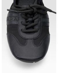Prada | Black Scrunch Lace-up Flats | Lyst
