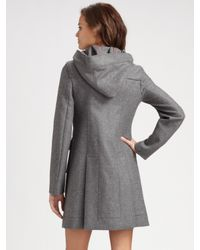 RED Valentino - Gray Wool Bow Toggle Coat - Lyst