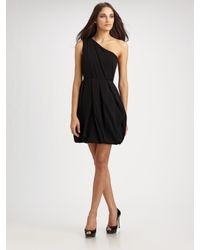 Shoshanna | Black Matte Crepe One Shoulder Dress | Lyst
