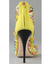 Giuseppe Zanotti | Yellow Brasil Embellished Leather Sandals | Lyst