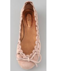 See By Chloé | Pink Scalloped Suede Flats | Lyst