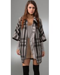 Club Monaco | Black Hannah Plaid Coat | Lyst