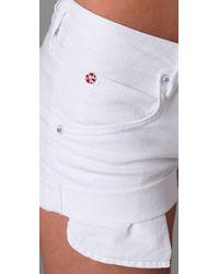 Hudson Jeans - White Cuffed Denim Shorts - Lyst