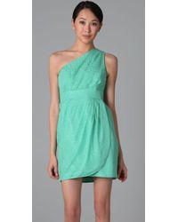 Shoshanna - Green Pleated One Shoulder Dress - Lyst