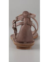 Sigerson Morrison - Brown Buckle Flat Thong Sandals - Lyst