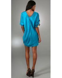 Tibi   Blue Behati V-neck Dress Teal Multi   Lyst