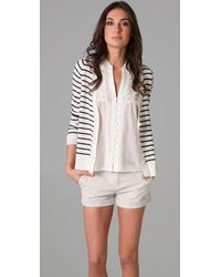 Joie | Miley Stripe Cardigan in Natural/caviar | Lyst