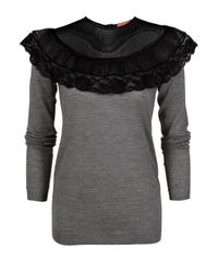 Manoush - Gray Lace Collar Sweater - Lyst