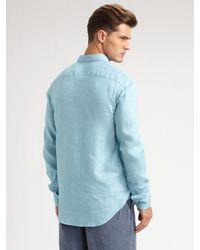 Armani | Blue Linen Shorts for Men | Lyst