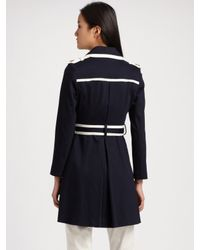 MILLY - Blue Piped Trebch Coat - Lyst