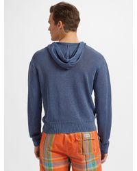 Polo Ralph Lauren - Blue Linen Hooded Pullover for Men - Lyst
