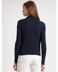 Theory | Blue Vicky Draped Jersey Top | Lyst