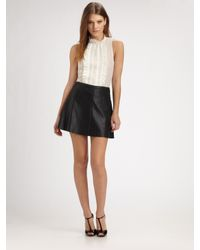 BCBGMAXAZRIA | Black Flared Faux Leather Skirt | Lyst