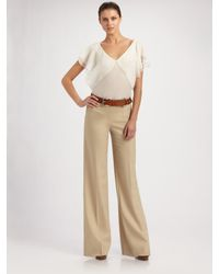 Ralph Lauren Black Label | Natural Joslyn Wide Leg Pants | Lyst
