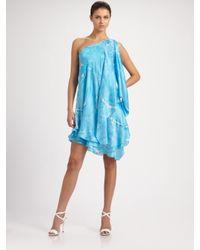 Ralph Lauren Black Label | Blue Cathleen Silk One Shoulder Dress | Lyst