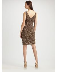 THEIA - Brown Beaded V-neck Cocktail Dress - Lyst