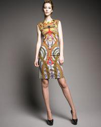 Alexander McQueen - Metallic Jersey Samurai-print Dress - Lyst